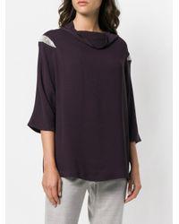 Fabiana Filippi Purple Foldover Neck Blouse