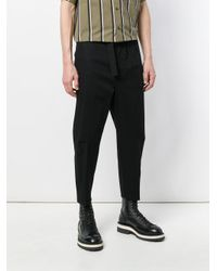 OAMC Black Cropped Tapered Trousers for men