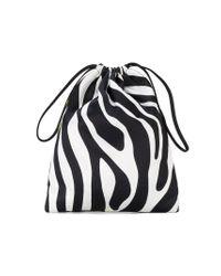 Attico - Black Tulip And Zebra Print Mini Pouch - Lyst