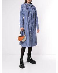 Sacai Blue Striped Shirt Dress