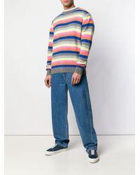 The Elder Statesman Gray Cashmere Stripe Jumper