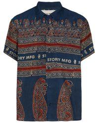 メンズ STORY mfg. パターン ショートパンツ Blue