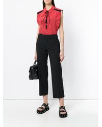 RED Valentino Black Cropped Tailored Fitted Trousers