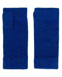 Mitaines en maille N.Peal Cashmere en coloris Blue