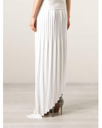 Vionnet White Pleated Asymmetric Skirt