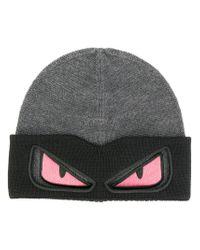 Fendi - Gray Eyes Knitted Beanie Hat for Men - Lyst