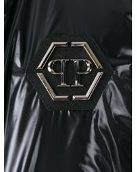 Philipp Plein Black Logo Plaque Bomber Jacket for men