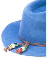 Faux fur fedora hat Maison Michel en coloris Blue