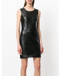 Frankie Morello Black Faux Leather Geometric Mini Dress