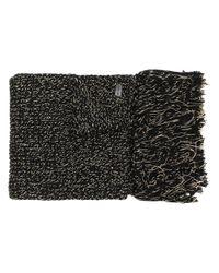 Sciarpa di maglia con frange di Saint Laurent in Black