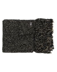 Saint Laurent Black Fringed Knitted Scarf