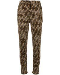 Брюки Кроя Слим С Логотипом Fendi, цвет: Brown