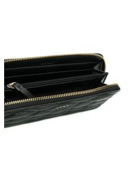 DKNY Black Quilted Pinstripe Wallet