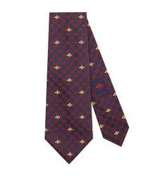 Cravate en soie à motif GG et abeilles Gucci pour homme en coloris Blue