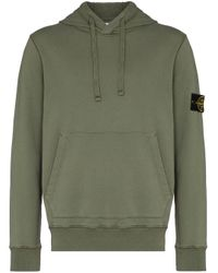 Stone Island Green Logo-patch Hoodie for men