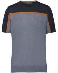 メンズ Prada カラーブロック ニットtシャツ Black