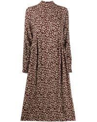 Robe imprimée à col montant Ganni en coloris Brown
