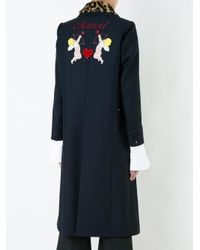 MUVEIL - Blue Leopard Collar Double Breasted Coat - Lyst
