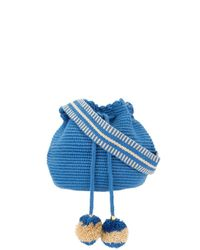 Soraya Hennessy Blue Mini Mochila Woven Bucket Bag