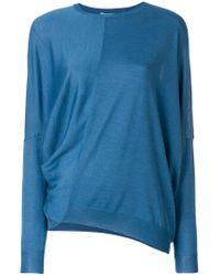 Stella McCartney Blue Draped Asymmetric Sweater