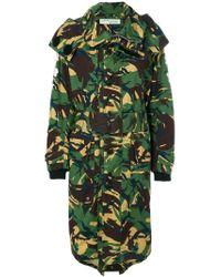 Off-White c/o Virgil Abloh Green Camouflage Trench Coat