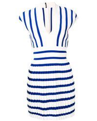 Vestido de punto con pliegues Balmain de color Blue