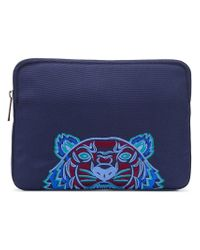 KENZO Blue Tiger Embroidered Clutch for men
