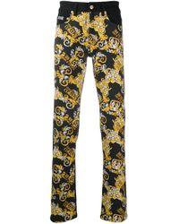 メンズ Versace Jeans バロッコプリント ストレートジーンズ Black