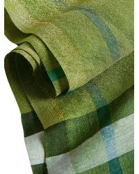 Burberry - Green Metallic Check Scarf - Lyst