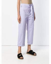 Reality Studio Purple Cropped Belted Waist Trousers