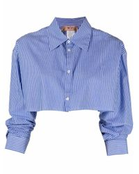 N°21 ストライプ クロップドシャツ Blue