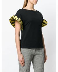 Ultrachic Black Contrast Ruffled Sleeves Top