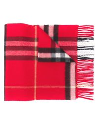 Burberry カシミア チェックスカーフ Red
