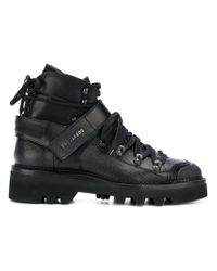 DSquared² Black Logo Strap Double Laced Boots for men
