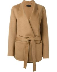 JOSEPH Brown Belted Cashmere and Wool-Blend Cardi-Coat