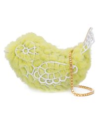Natasha Zinko Yellow Crochet Metal Mink Bag