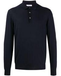 メンズ Boglioli ロングスリーブ ポロシャツ Blue