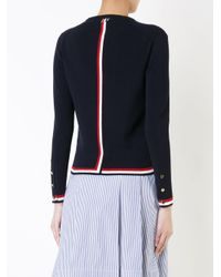 Thom Browne Blue Striped Detail Knitted Top