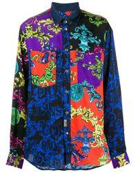 Versace Jeans Blue Baroque Print Denim Shirt for men