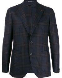 Tagliatore Blue Checked Single Breasted Blazer for men