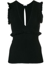 P.A.R.O.S.H. Black Fitted Ruffle Top