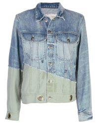 Veste en jean à empiècements contrastants Greg Lauren en coloris Blue