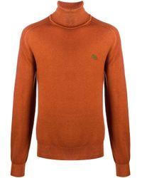 Etro Orange Fine Knit Roll Neck Jumper for men
