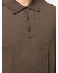 Z Zegna Brown Knitted Long Sleeve Polo Shirt for men