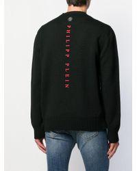Pull à motif intarsia Philipp Plein pour homme en coloris Black