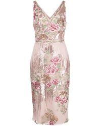 Marchesa notte スパンコール ドレス Pink