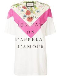Gucci Dans Mon Pays On M'appelai L'amour Tシャツ White
