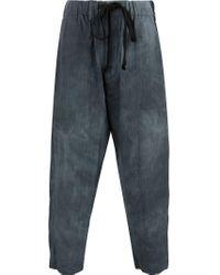 Uma Wang Blue Cropped Drop-crotch Trousers for men