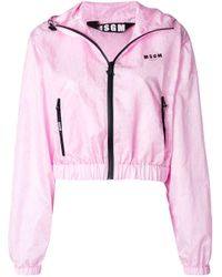 MSGM Pink Hooded Logo Jacket