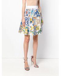 Dolce & Gabbana Blue Majolica Print Lace Skirt